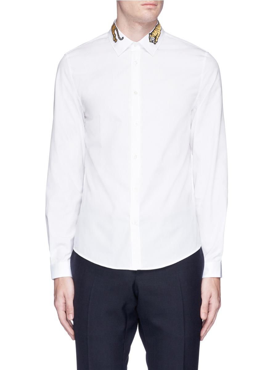 aef04224 Gucci 'duke' Tiger Embroidered Shirt in White for Men - Lyst