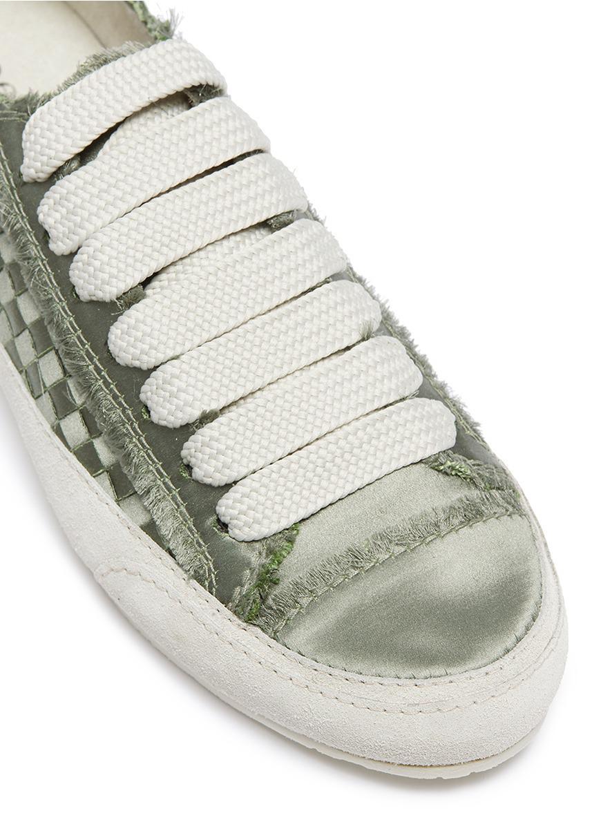 Sneakers In Garcia Green Satin 'padme' Basketweave Lyst Pedro XwFqxOxU