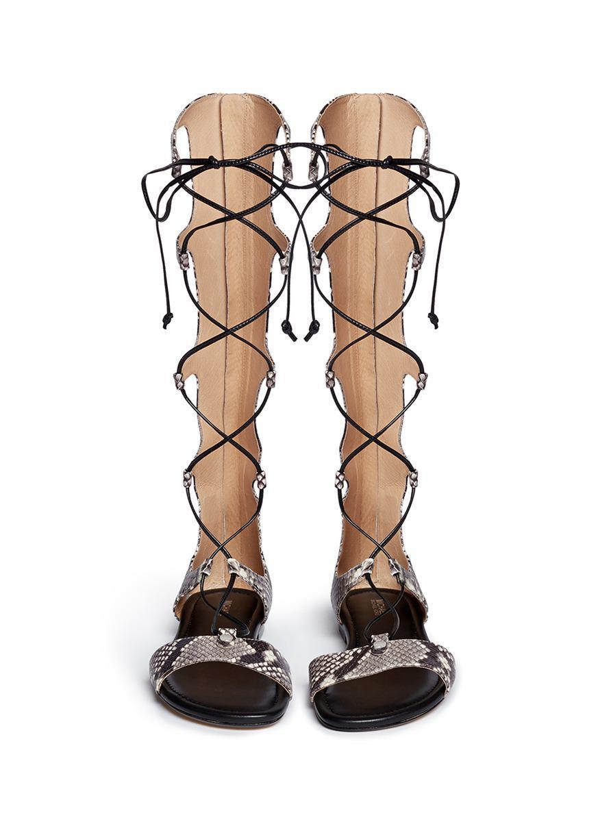 48818af2f68 Lyst - Michael Kors  sofia  Python Embossed Leather Gladiator ...