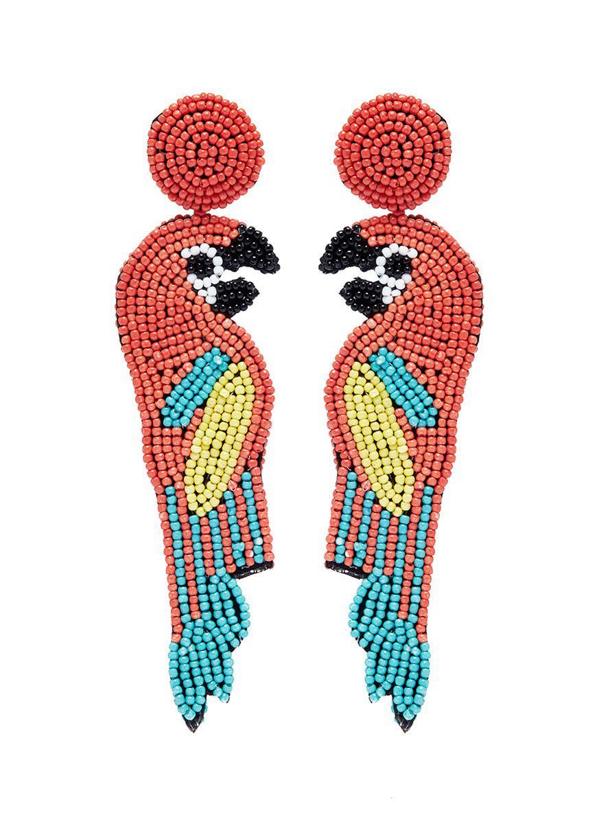 Kenneth Jay Lane Seed-Bead Tassel Clip Earrings, Coral