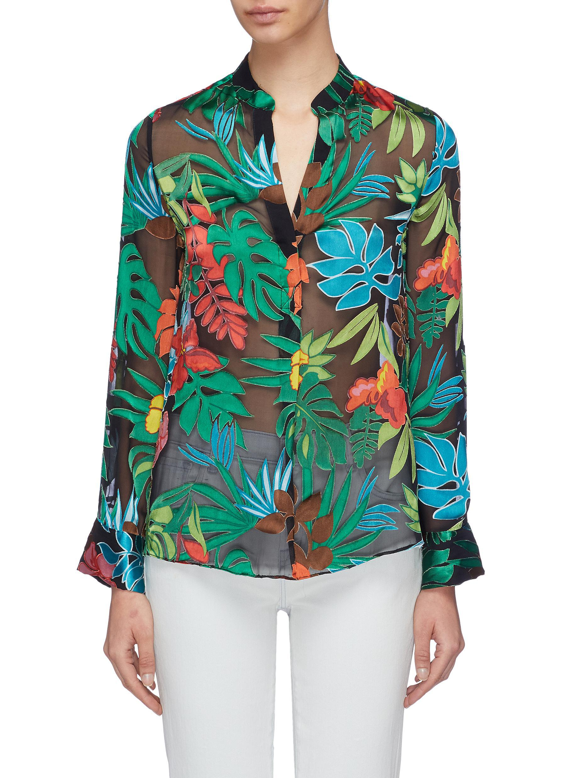 632834e7d5c Alice + Olivia 'amos' Floral Palm Leaf Burnout Tunic Top for Men - Lyst