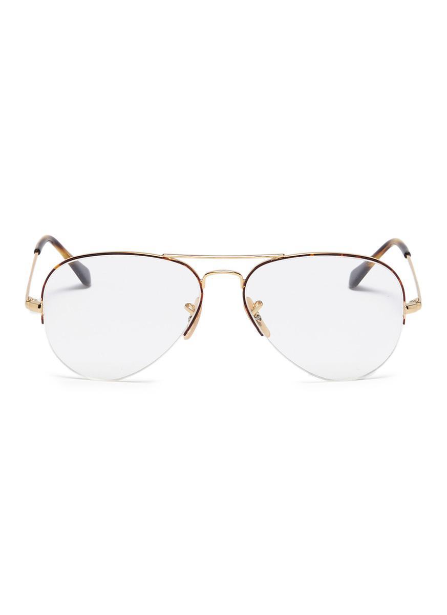 Lyst - Ray-Ban \'rx6589\' Half Rim Metal Aviator Optical Glasses in Brown