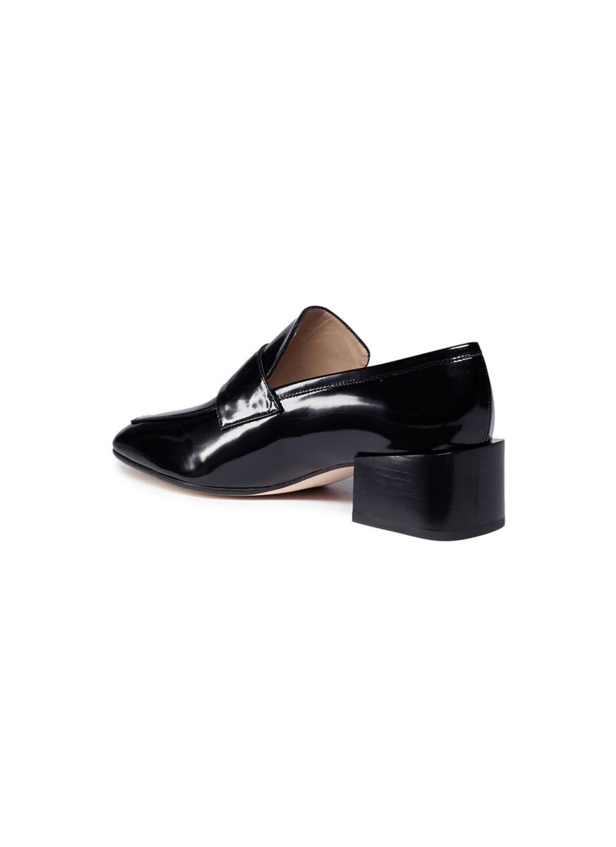 ab9557c23b6 Lyst - Stuart Weitzman  sawyer  Patent Leather Loafer Pumps in Black