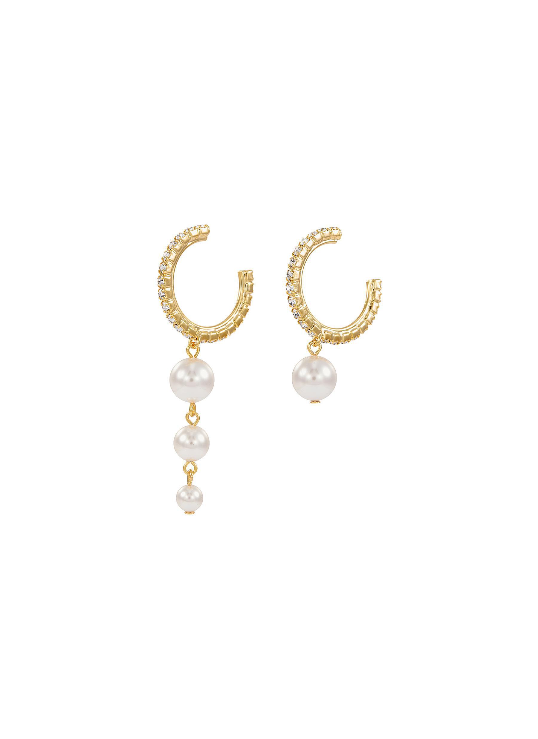 774e71c0a3f5 Joomi Lim. Men s Metallic Mismatched Swarovski Crystal Faux Pearl Drop Hoop  Earrings