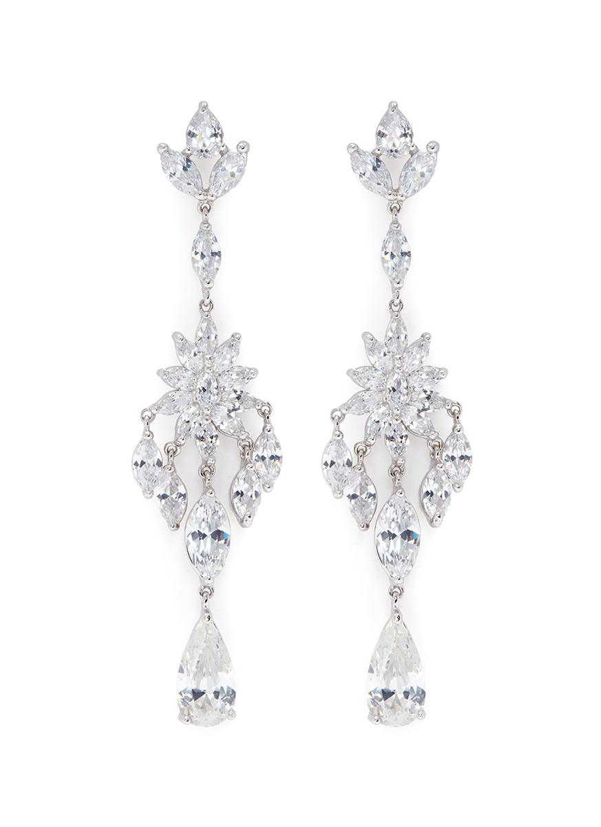 Lyst cz by kenneth jay lane floral cubic zirconia chandelier cz by kenneth jay lane womens metallic floral cubic zirconia chandelier earrings arubaitofo Choice Image