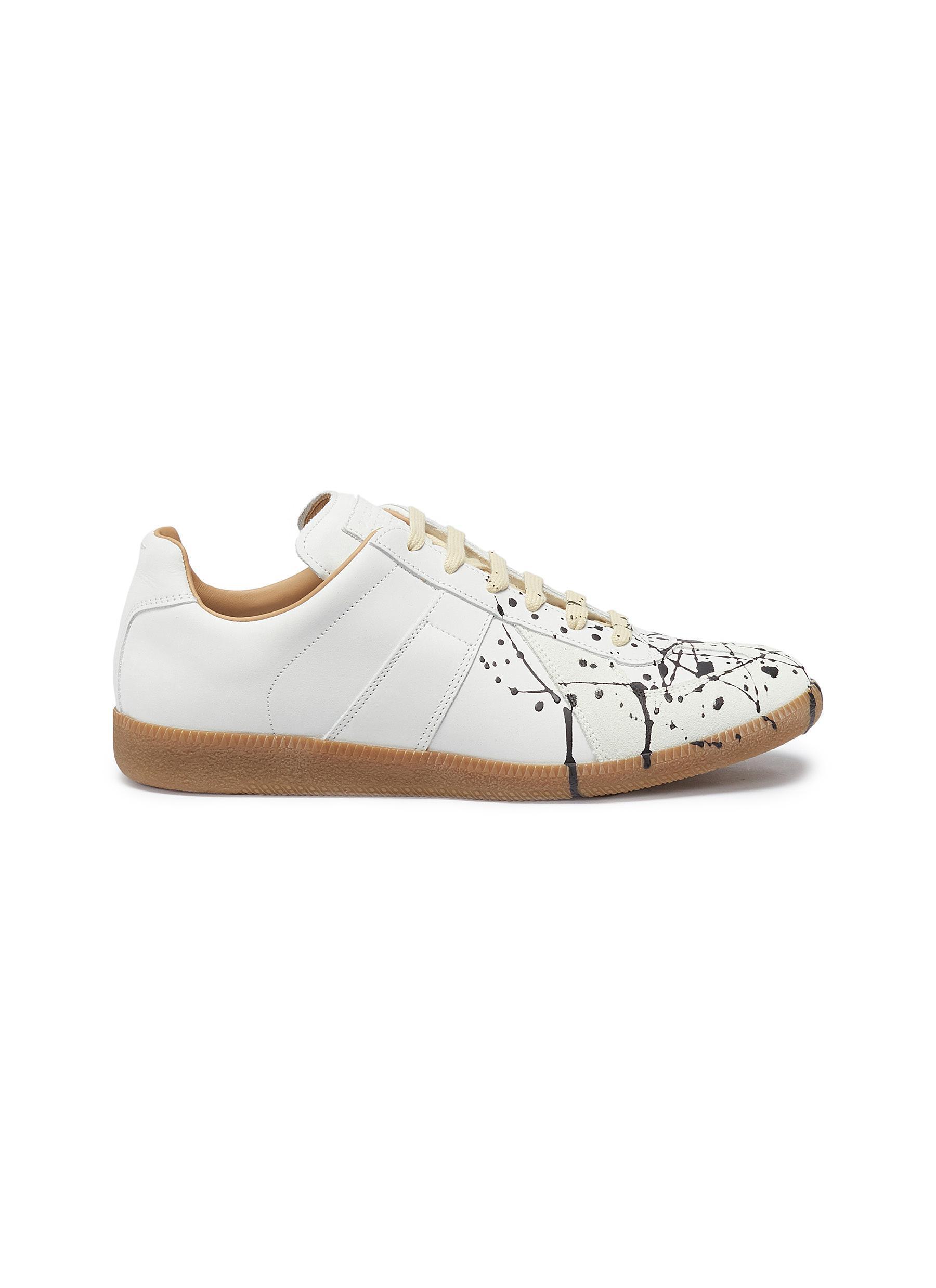 a852417ede0d Lyst - Maison Margiela  replica  Paint Splatter Leather Sneakers for Men