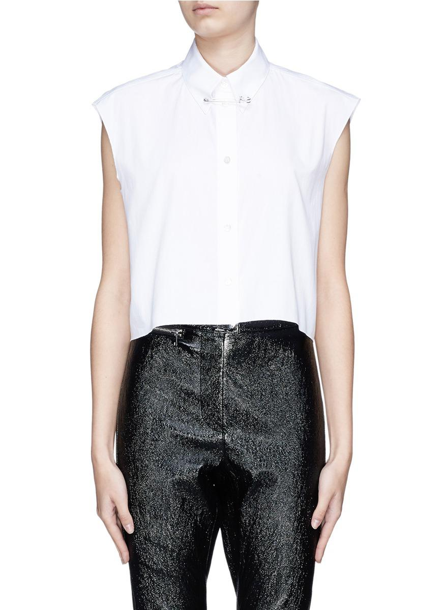 Helmut Lang Safety Pin Collar Cropped Sleeveless Poplin