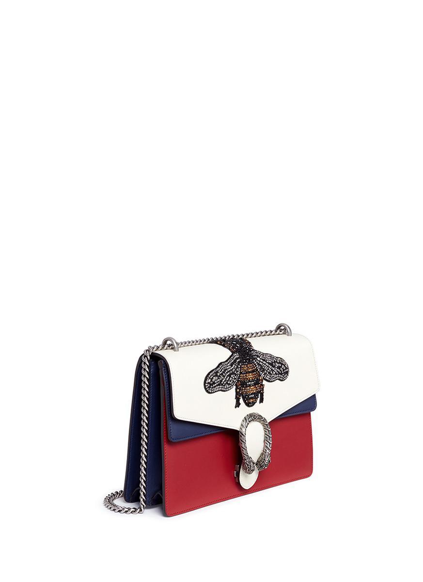 b29e938ec1ab Gucci 'dionysus' Medium Embellished Bee Tiger Buckle Leather Bag - Lyst