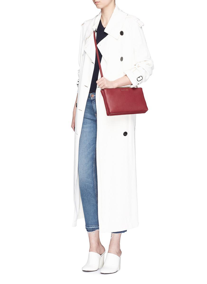 ada70aa0518c Lyst - Michael Kors  adele  Double Zip Leather Crossbody Bag in Red