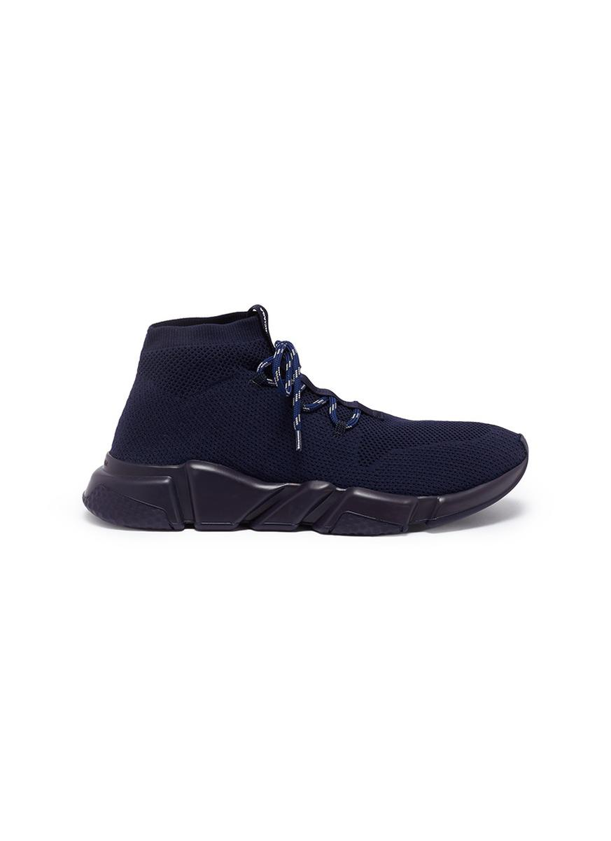 4f10f663654c2 Lyst - Balenciaga  speed  Lace-up Knit Sneakers in Blue for Men ...