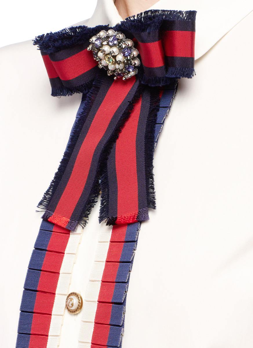 bed3ac78673 Lyst - Gucci Jewelled Web Bow Brooch Gg Pearl Shirt