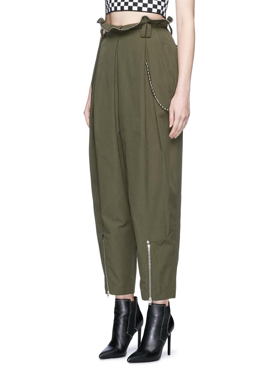 latest discount classcic low price sale Women's Green Ball Chain Paperbag Waist Twill Army Trousers