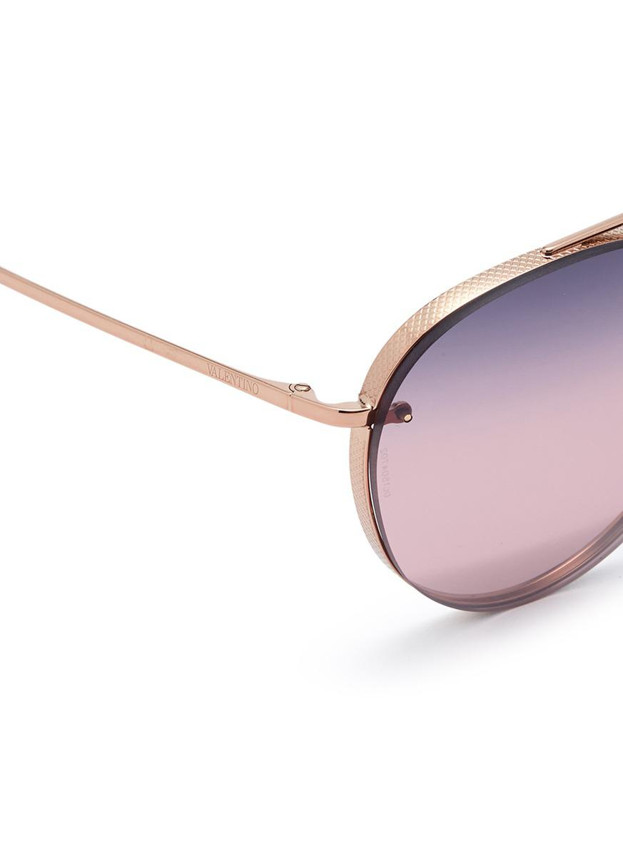 093ba7df507 Valentino Mounted Lens Metal Aviator Sunglasses in Metallic - Lyst