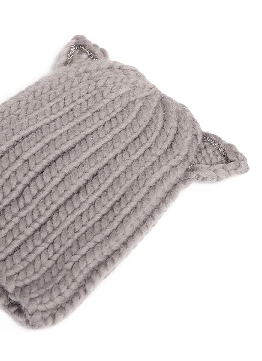Lyst - Eugenia Kim  felix  Swarovski Crystal Cat Ear Wool Beanie in Gray 6f4ea7d57626