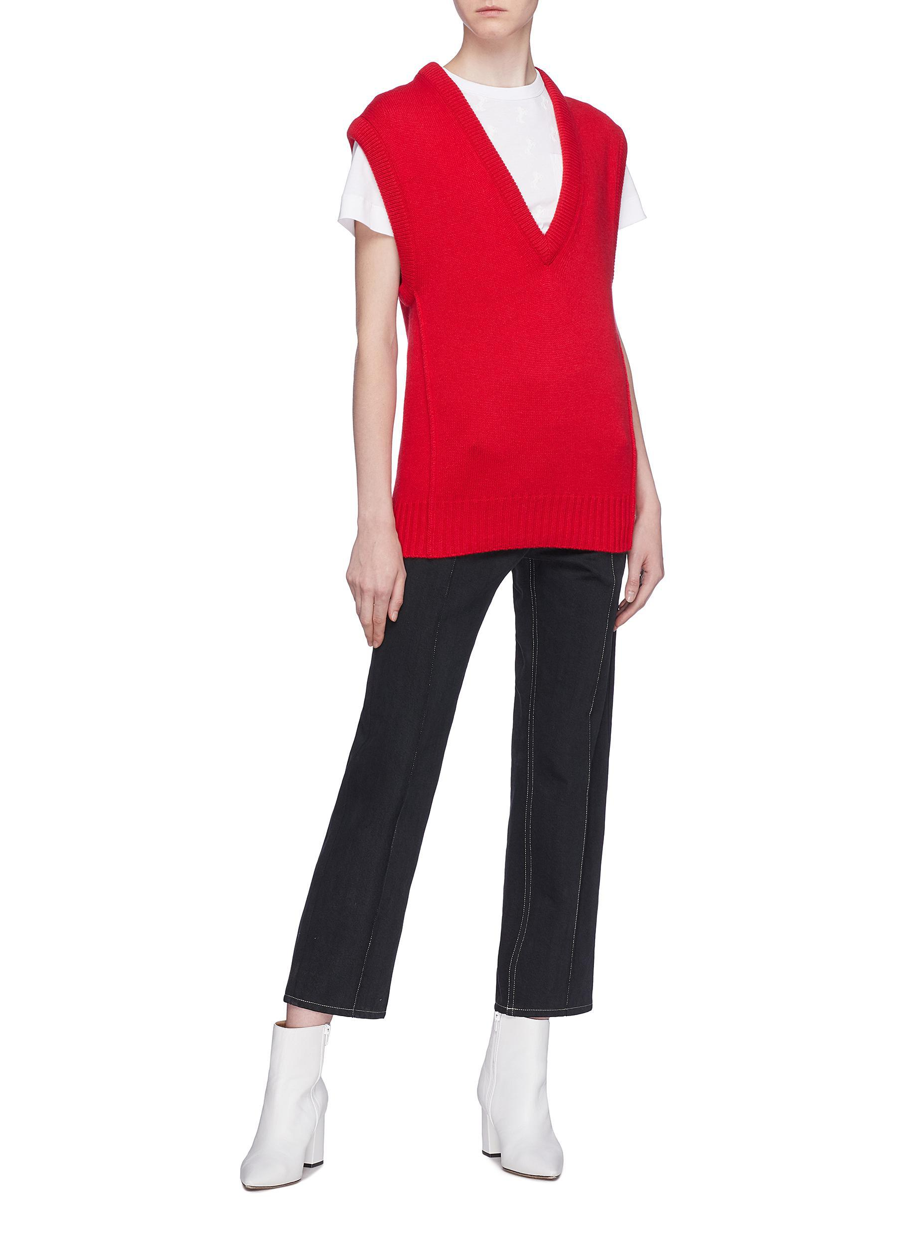 Lyst - Chloé V-neck Cashmere Wool Knit Vest in Red 86bf3fe4f
