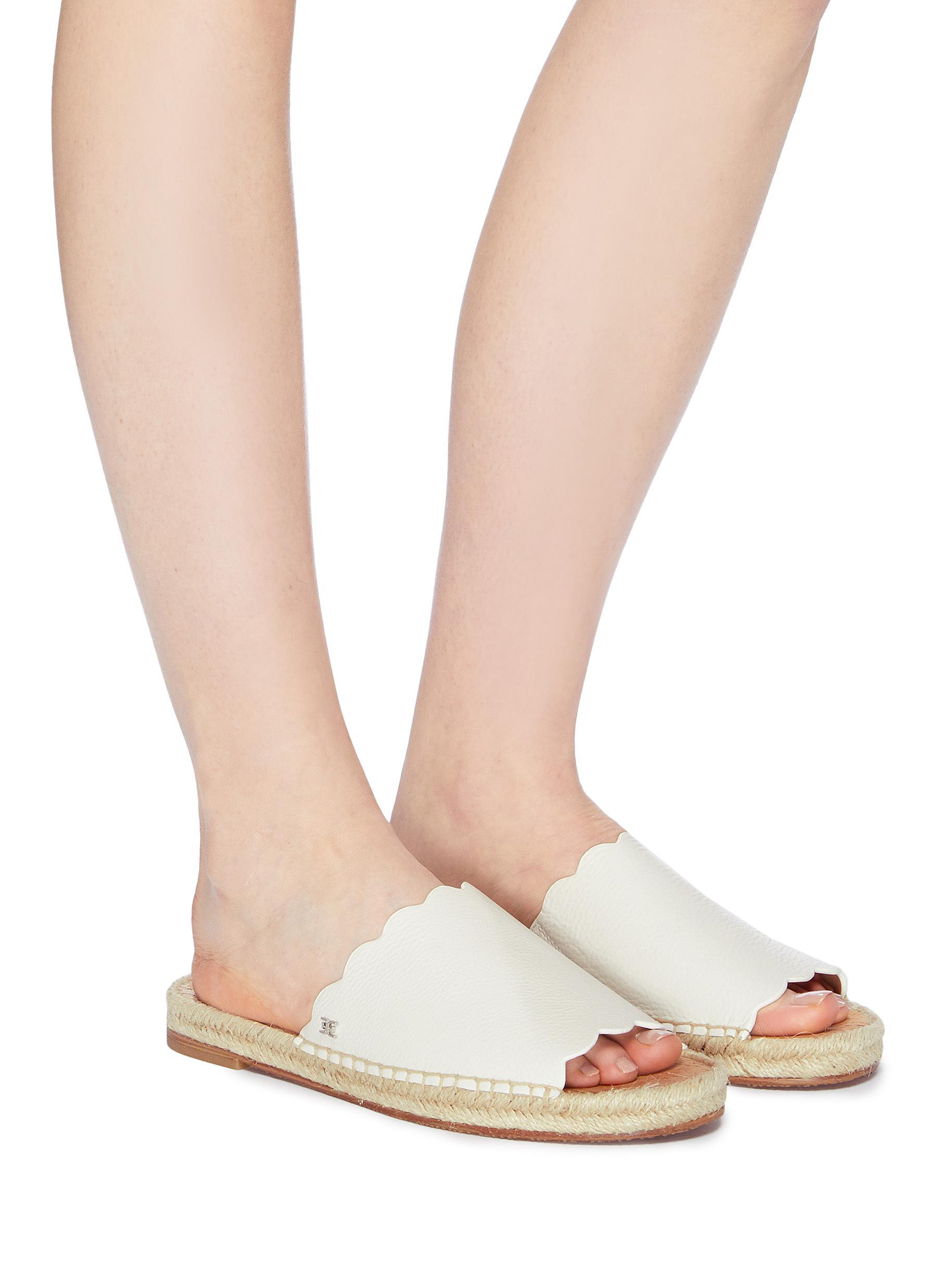 8060f34a0970 Sam Edelman - White  andy  Scalloped Leather Espadrille Slide Sandals -  Lyst. View fullscreen