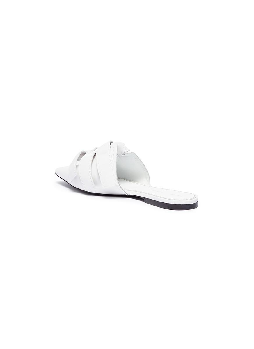 3de809d5c7c37d Lyst - Proenza Schouler Knotted Bow Leather Slides in White