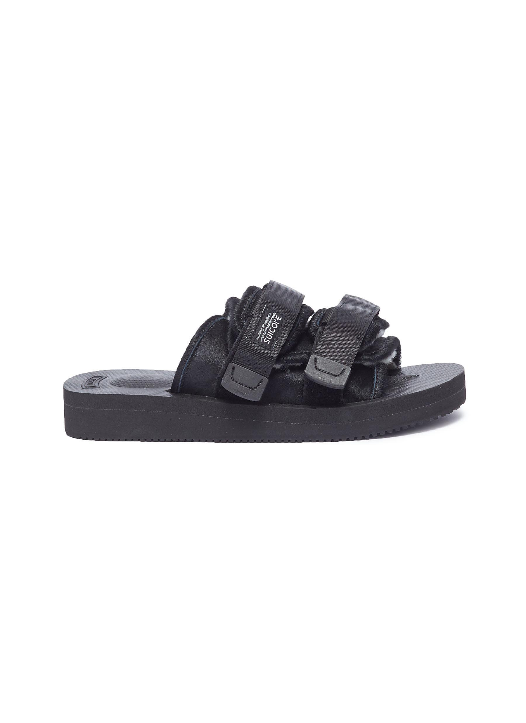 55c422e8853 Lyst - Suicoke  moto-vhl  Strappy Band Calf Fur Slide Sandals for Men