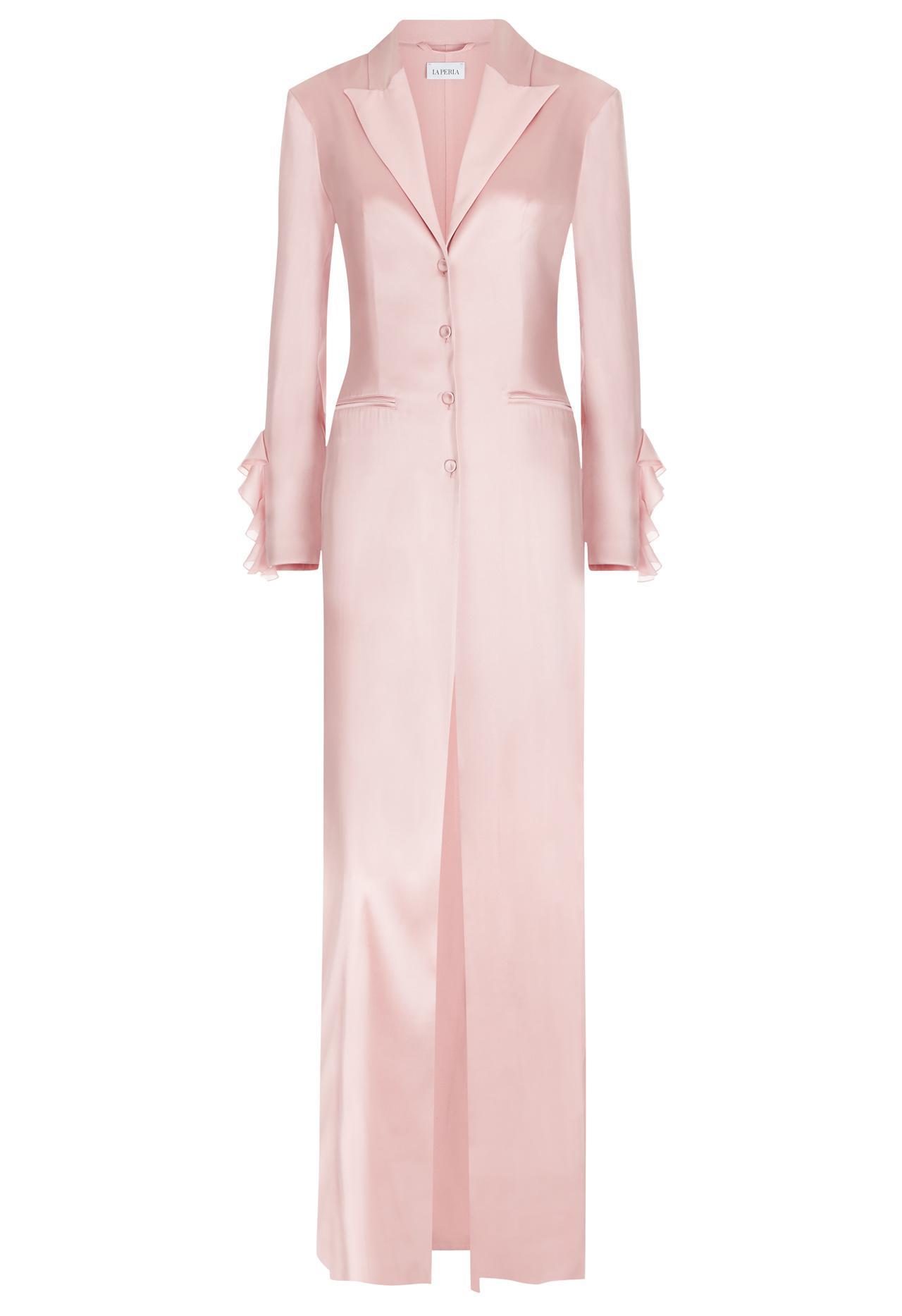 2b322a39d La perla Powder Pink Silk Satin Long Robe With Georgette Ruffle Trim ...