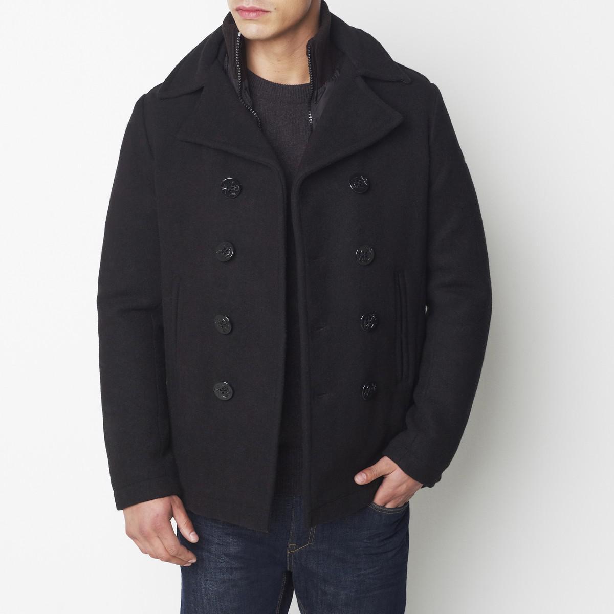 schott nyc 2 in 1 effect pea coat in black for men save. Black Bedroom Furniture Sets. Home Design Ideas
