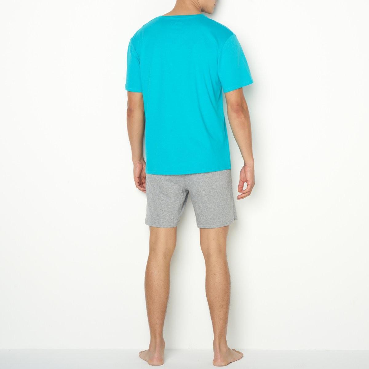 LA REDOUTE - Blue Short Cotton Jersey V-neck Pyjamas for Men - Lyst. View  fullscreen 8d6134c86