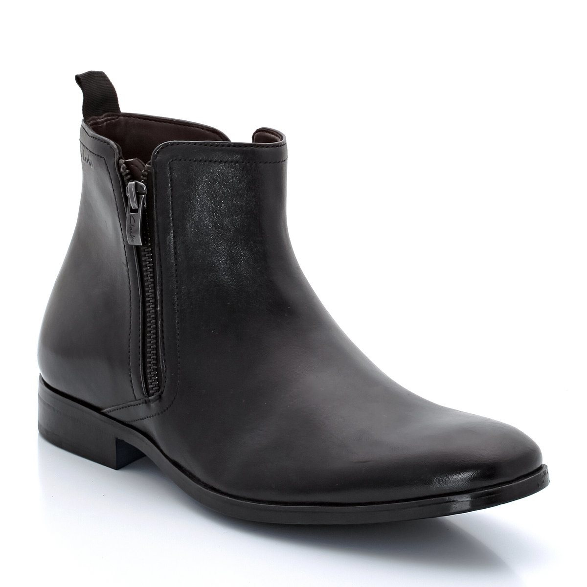 clarks banfieldzip leather zip up boots in black for