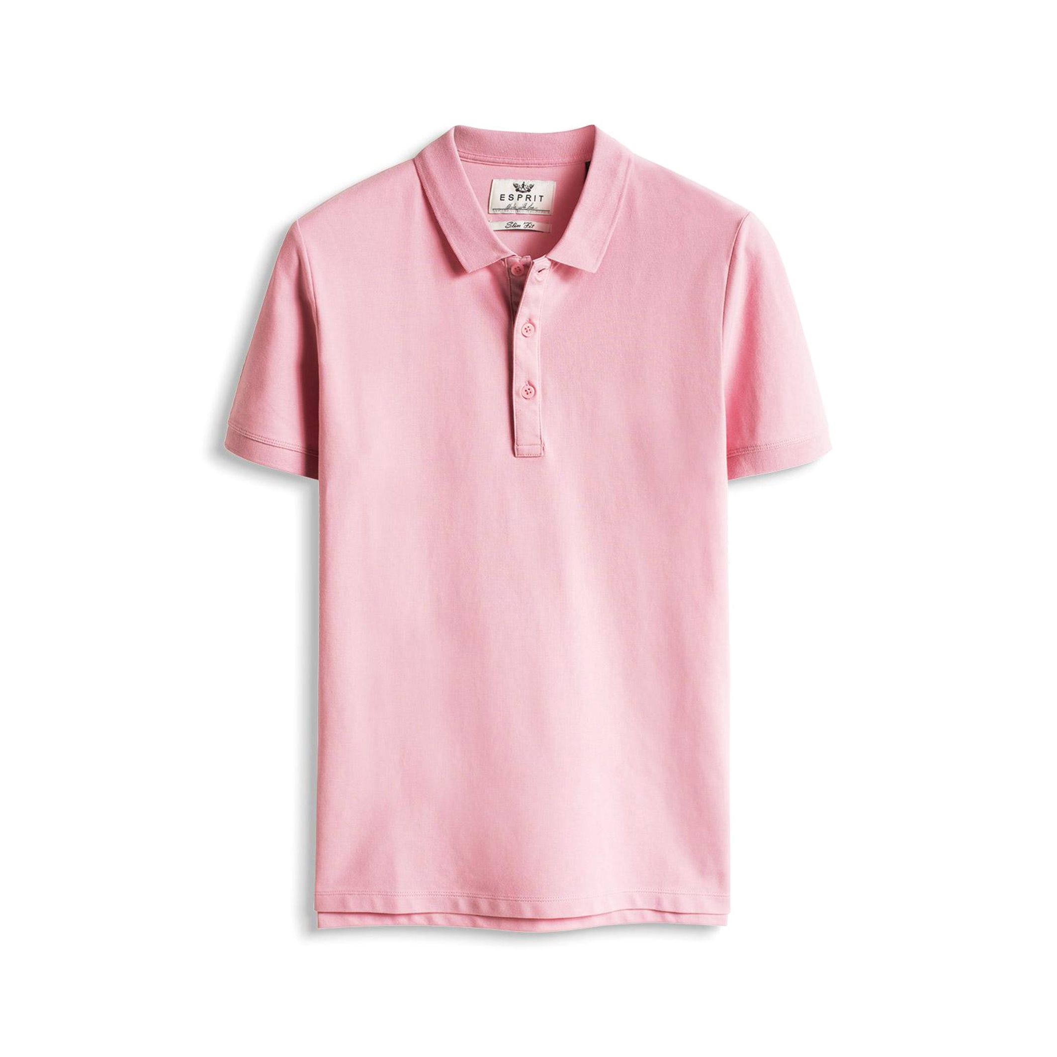 Lyst Esprit Short Sleeved Cotton Piqu Polo Shirt In Pink For Men