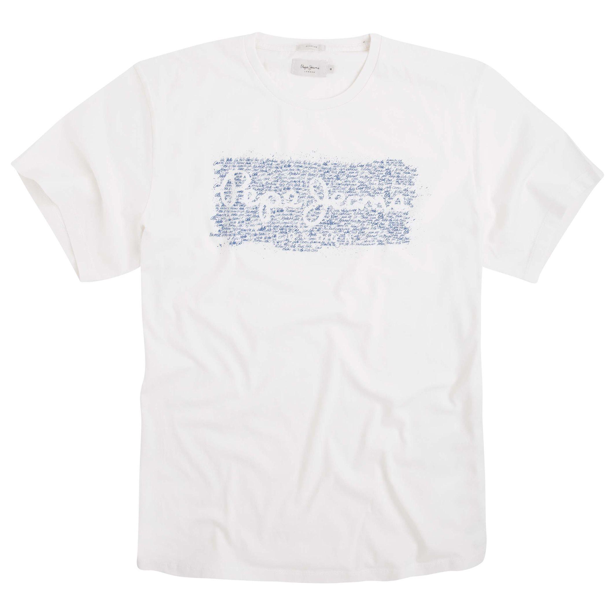 pepe jeans cluster t shirt with printed motif in white for men lyst. Black Bedroom Furniture Sets. Home Design Ideas