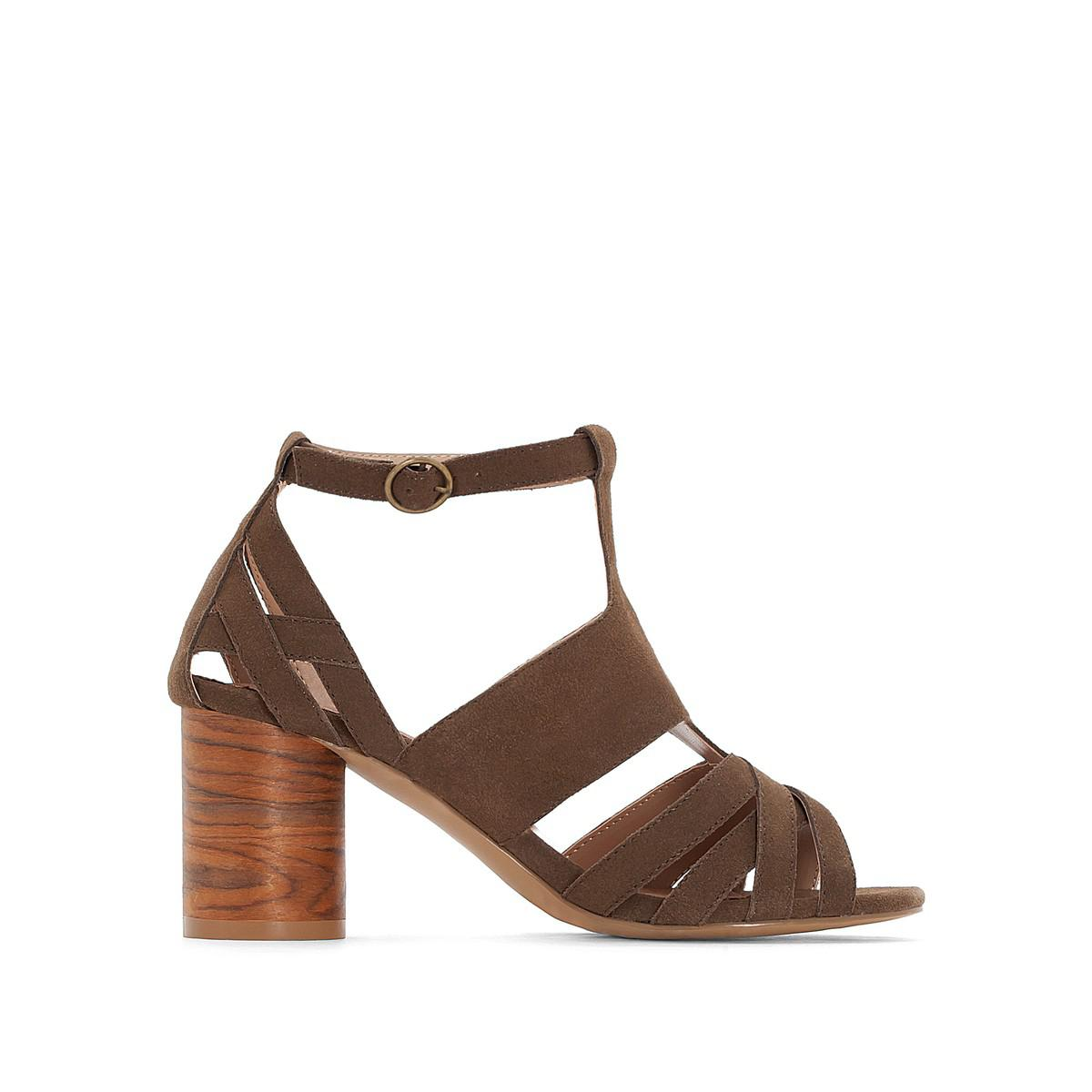 5505d4096 Lyst - La Redoute Leather Sandals With Rounded Heel in Brown