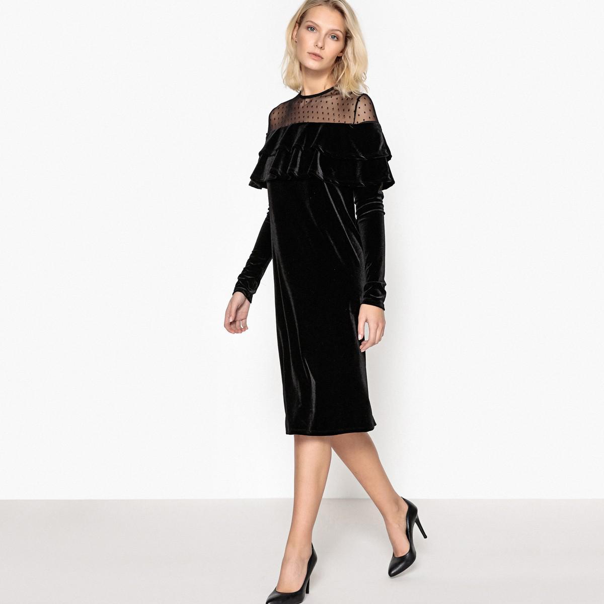 Lyst la redoute robe en velours avec volant paules for Robes de mariage de betsey johnson