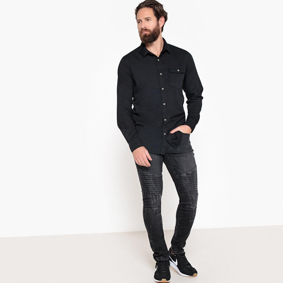 8d957c9c05 LA REDOUTE - Black Long-sleeved Straight Cut Shirt for Men - Lyst. View  fullscreen