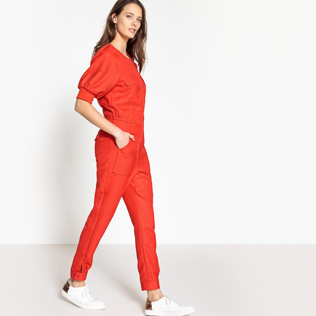 7cad07681417 La Redoute Zip-up Jumpsuit in Red - Lyst