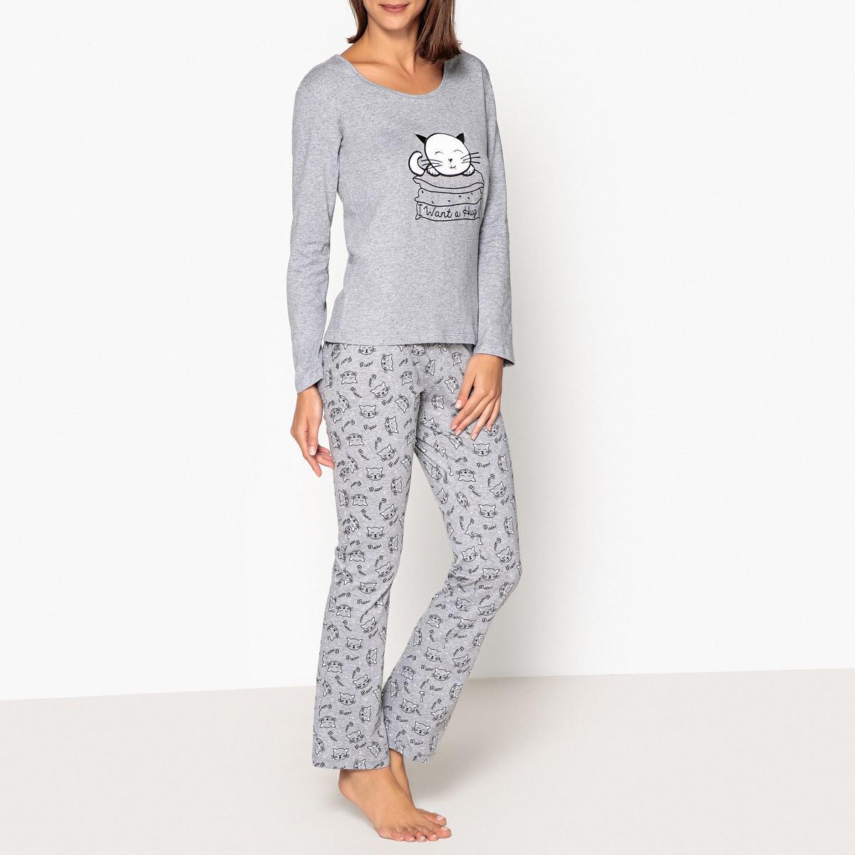 3af75df56f58f LA REDOUTE - Gray Cat Hug Slogan 3-piece Pyjama Set - Lyst. View fullscreen