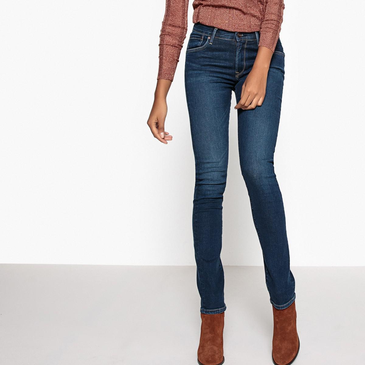 lyst pepe jeans victoria slim fit regular waist jeans in blue. Black Bedroom Furniture Sets. Home Design Ideas