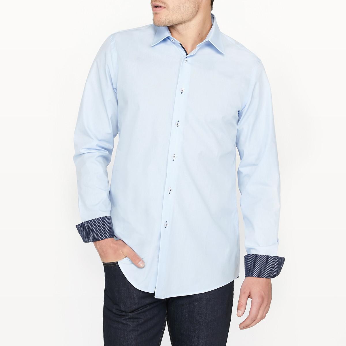 Lyst la redoute slim fit cotton shirt in blue for men for Slim fit cotton shirts