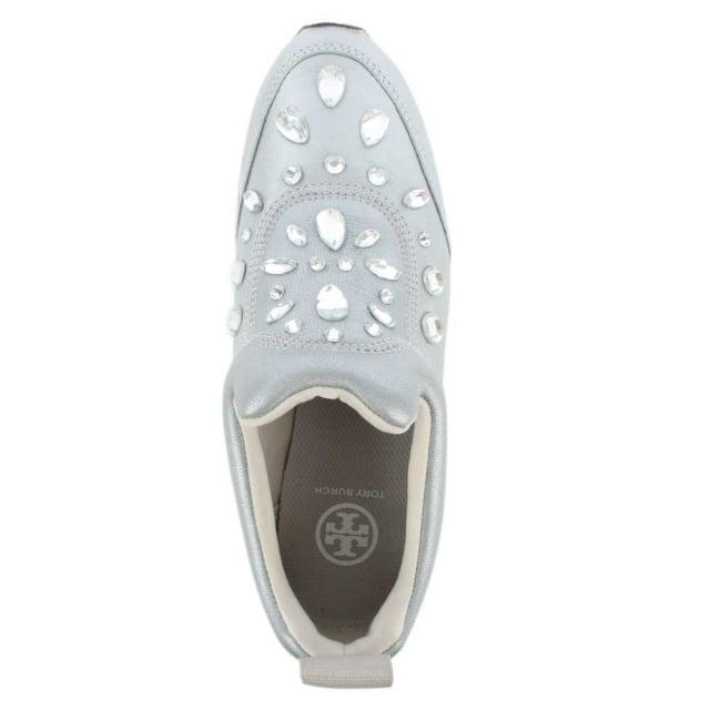 cc704752507 Lyst - Tory Burch Laney Silver Leather Embellished Slip On Trainer ...