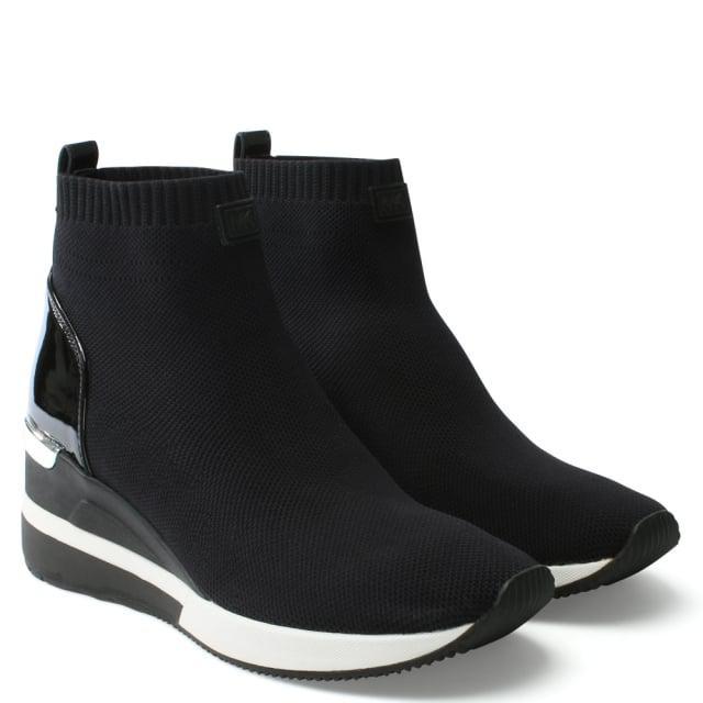 22d1b8d3b48f Michael Kors Skyler Black Sock Wedge Booties in Black - Lyst