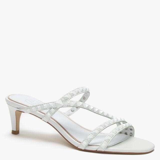 19de137511 Ash - Kate Studs White Leather Kitten Heel Sandals - Lyst. View fullscreen