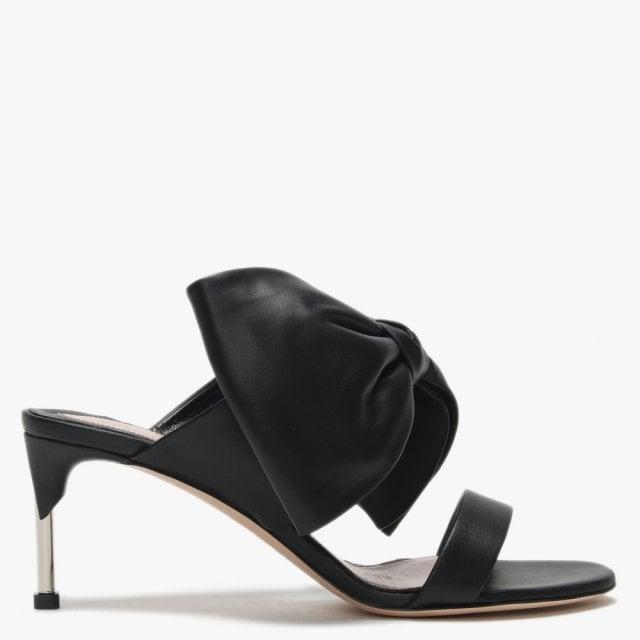 41b018147867 Alexander McQueen Pin Heel Black Leather Bow Mules in Black - Lyst