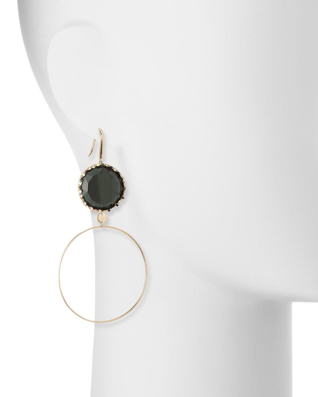 Lana Jewelry 14k Midnight Dangle Hoop Earrings, Green
