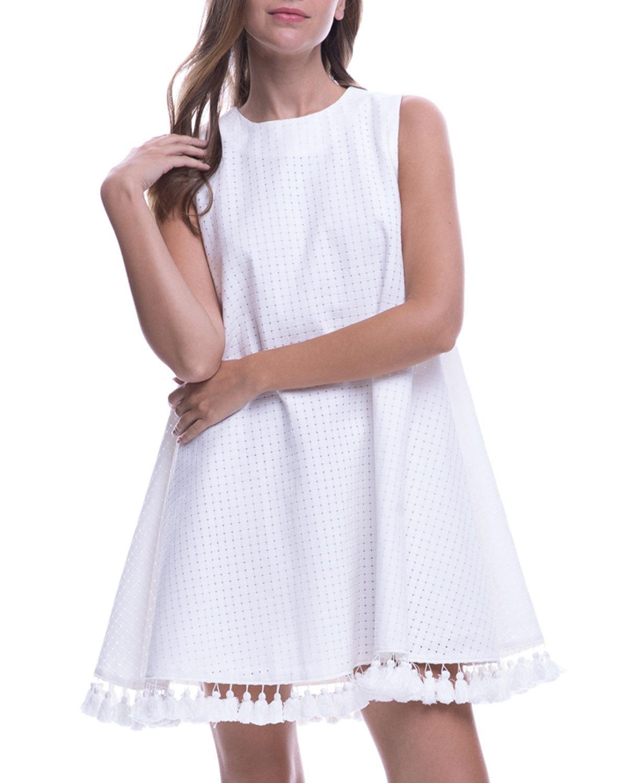 cb79c49b7b3d English Factory Sleeveless Tassel-hem Tent Dress in White - Lyst