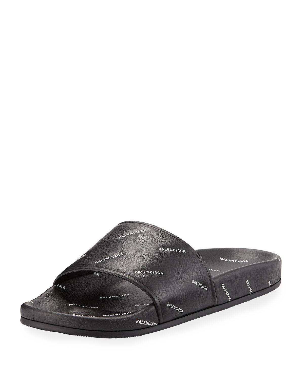 0a36671597b64 Balenciaga - Black Men s Logo-print Pool Slide Sandals for Men - Lyst. View  fullscreen