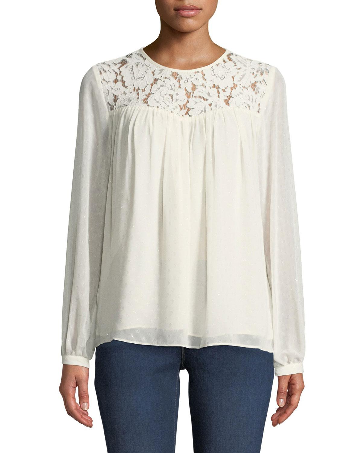 e1a7ba7c79b Lyst - MICHAEL Michael Kors Lace-yoked Peasant Blouse With Sequins ...