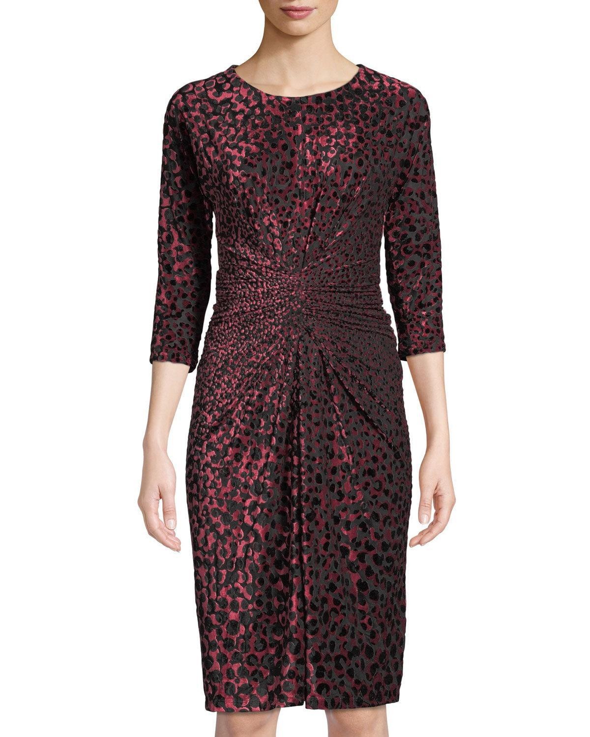 75ab5d3e106 Lyst - Neiman Marcus Animal-print Ruched Burnout Dress in Black