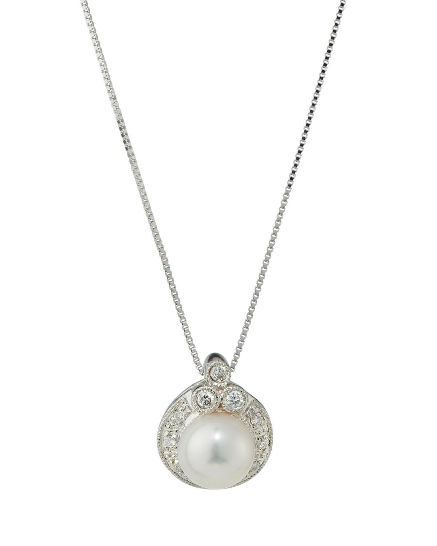 Belpearl 14k Diamond & Pearl Round Pendant Necklace 8cZSA64U