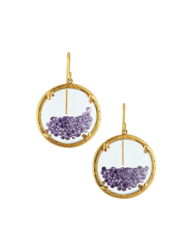 Women's Purple Shaker Birthstone Earrings February Amethyst