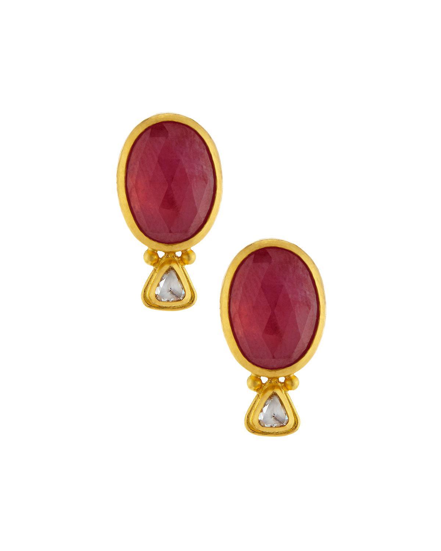 Gurhan Oval Ruby & Diamond Button Earrings ZrovqUw