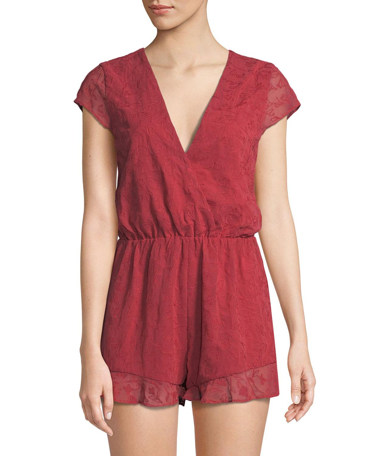 3c68727e4b26 Lyst - Lovers + Friends Hey Babe Lace-back Romper in Red
