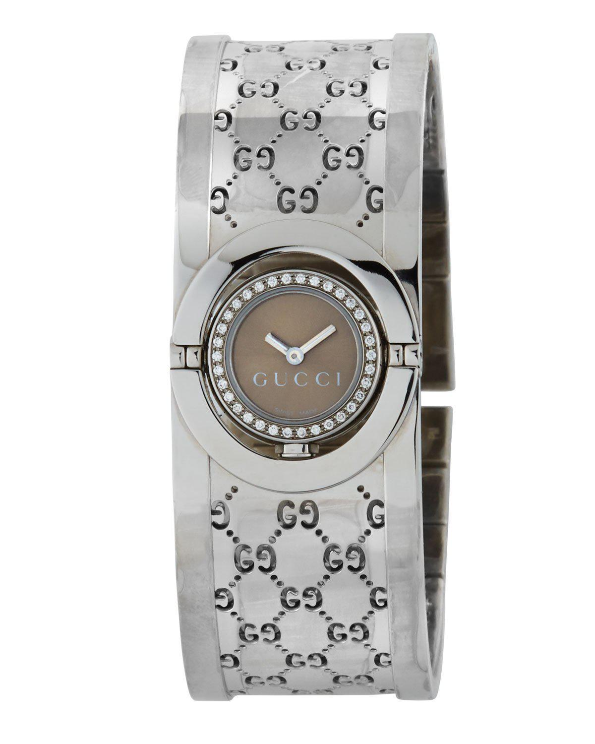 7f6b7f2fc86 Lyst - Gucci 23mm Twirl Bangle Bracelet Watch in Brown