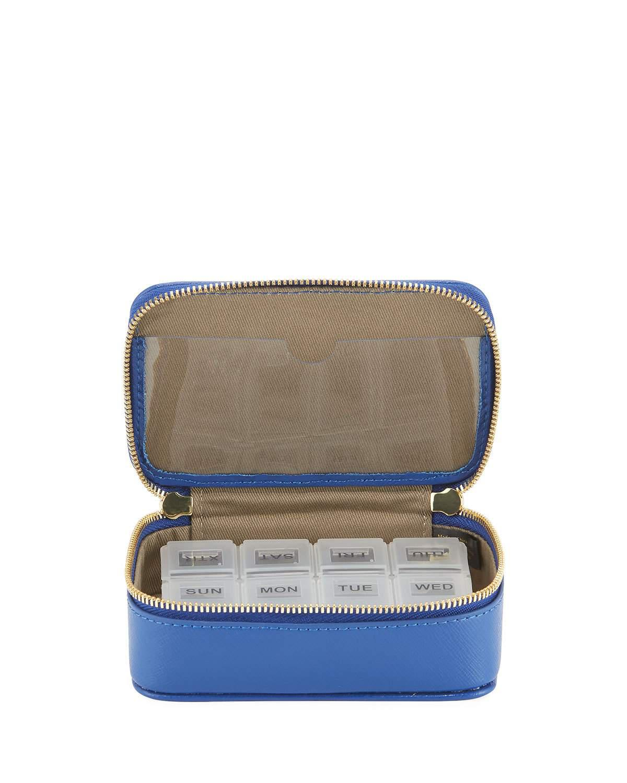 Lyst - Neiman Marcus Large Saffiano Leather Pill Case in Metallic 252f836eda90e